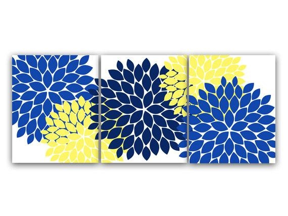 Home Decor Wall Art Canvas And Prints Blue And Yellow Flower With Yellow And Blue Wall Art (Image 12 of 20)