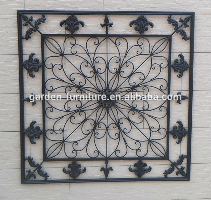 Home Decorative Fleur De Lis Wrought Iron Panel Metal Wall Art In Fleur De Lis Metal Wall Art (Image 14 of 20)