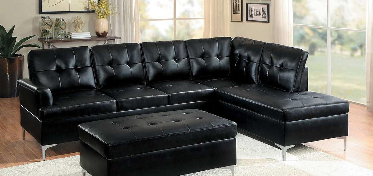 Homelegance Barrington Sectional Sofa – Black Bi Cast Vinyl Throughout Black Vinyl Sofas (Image 12 of 20)