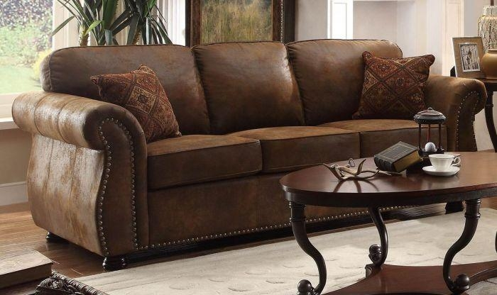 Homelegance Corvallis Brown Bomber Jacket Microfiber Sofa 8405Bj 3 Inside Bomber Leather Sofas (Image 7 of 20)