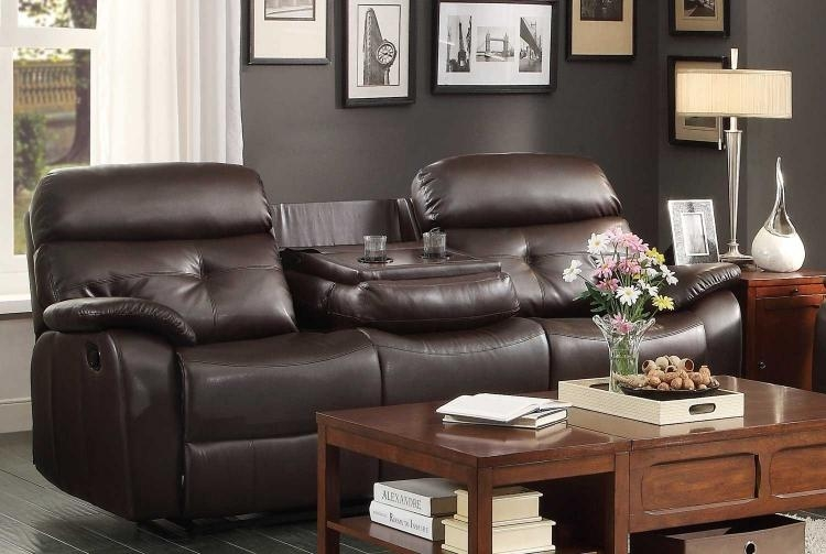 Homelegance Evana Reclining Sofa Set – Dark Brown Bonded Leather In Sofas With Console (Image 7 of 20)