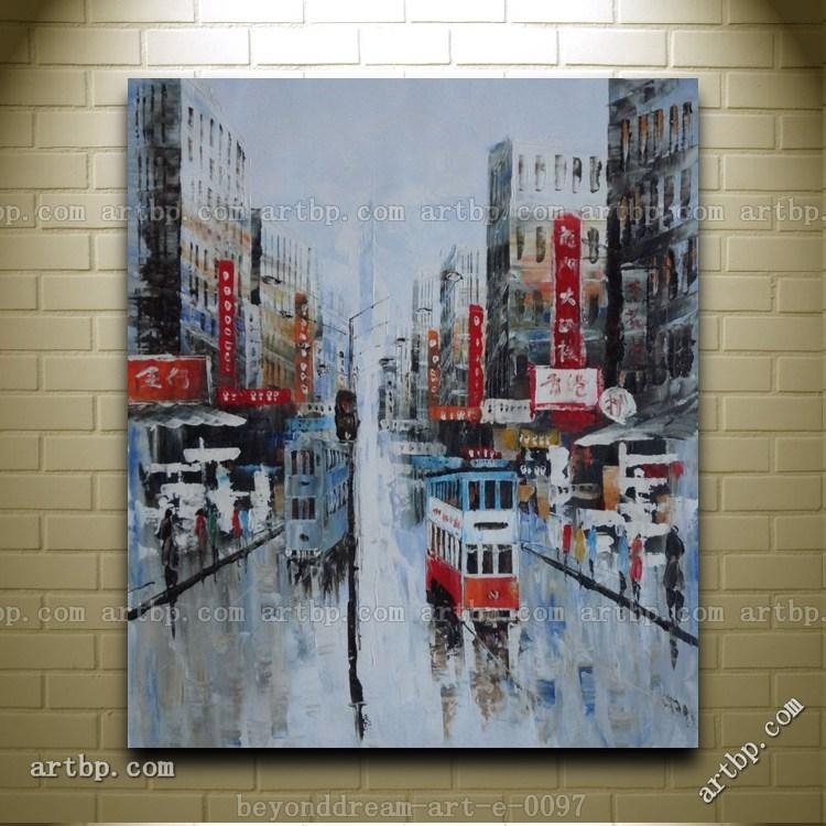 Hong Kong Street Scene In Early Oil Painting Impressionism Intended For Street Scene Wall Art (View 16 of 20)