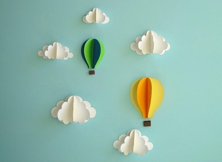 Hot Air Balloon Wall Decal Paper Wall Art Wall Decor 3D For 3D Paper Wall Art (Image 10 of 20)