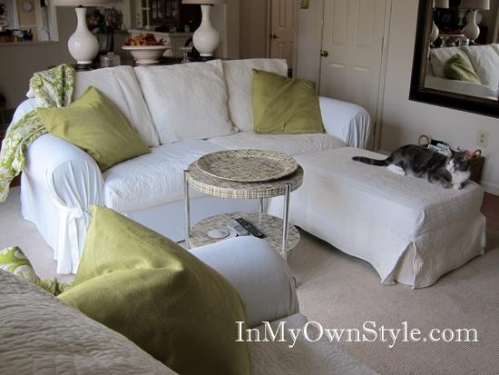 How To Cover A Chair Or Sofa With A Loose Fit Slipcover – In My Intended For Slipcovers For Chaise Lounge Sofas (Image 11 of 20)