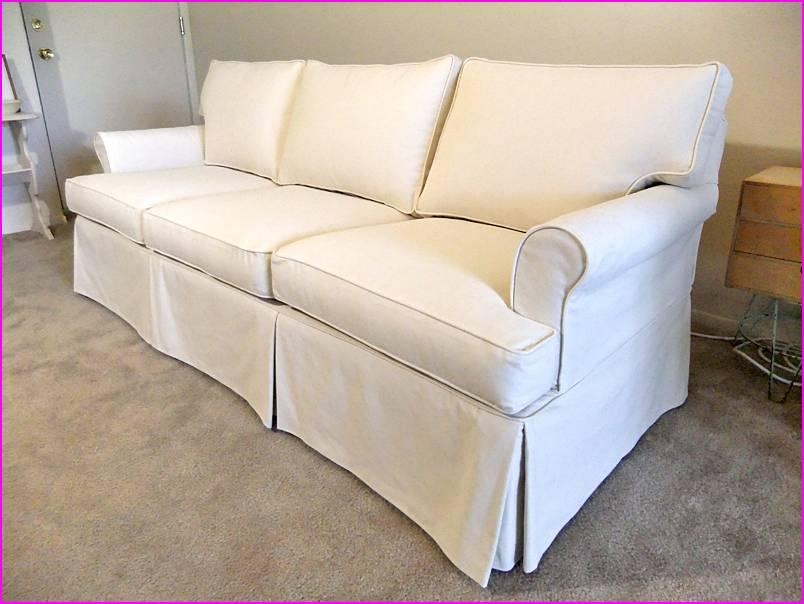 How To Holding Canvas Sofa Slipcover — Home Design Stylinghome In T Cushion Slipcovers For Large Sofas (View 19 of 20)