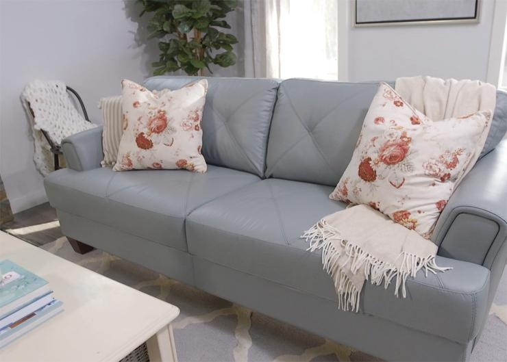 How To Style A Sofa In A Statement Colour For Spring (Video) | The Throughout Seafoam Green Sofas (Image 4 of 20)