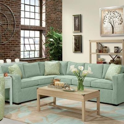 Howard Miller Lenny Two Piece Sectional Sofa 2 In Seafoam Features In Seafoam Green Couches (Image 8 of 20)