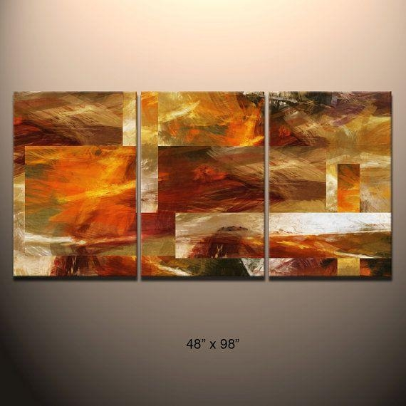 Huge 3 Piece Triptych Abstract Canvas Wall Art Giclee Print Fully Within 3 Piece Abstract Wall Art (View 5 of 20)