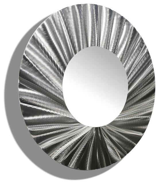 Huge Silver Handmade Round Metal Wall Mirror Contemporary Modern Intended For Mirrors Modern Wall Art (Image 7 of 20)