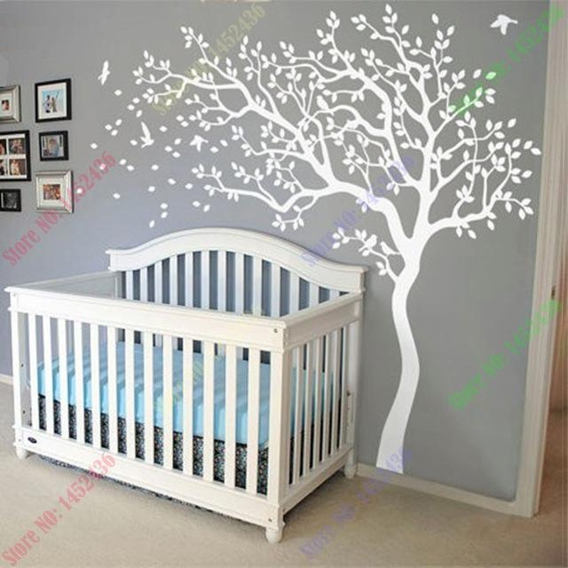 Huge White Tree Wall Decal Nursery Tree And Birds Wall Art Baby Intended For Nursery Wall Art (Image 15 of 20)