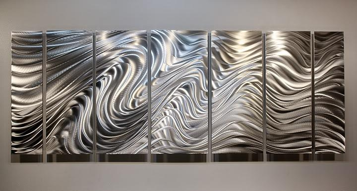 Hypnotic Sands  Brilliant Silver Modern Metal Wall Sculpture In Large Metal Art (Image 13 of 20)