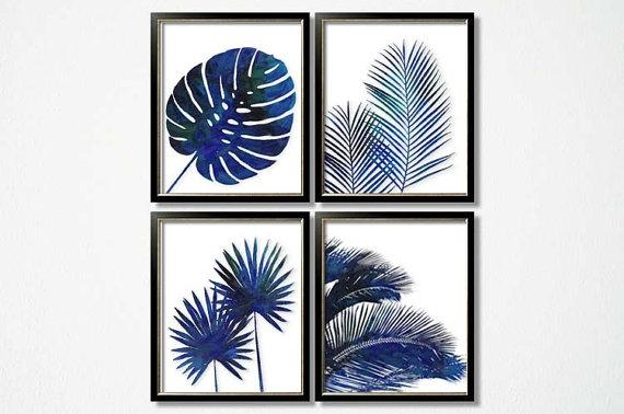 Indigo Foliage Prints Blue Palm Wall Art Set Of 6 Tropical Intended For Blue And White Wall Art (View 13 of 20)