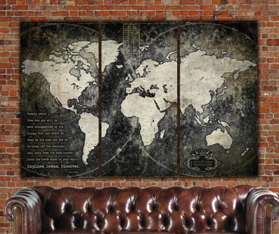 Industrial World Map On Canvas Vintage Map Large Wall Art For Antique Map Wall Art (Image 14 of 20)