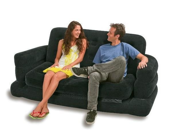 Inflatable Sofa Bed Couch Intex Furniture Air Lounge Pull Out Inside Inflatable Pull Out Sofas (Image 11 of 20)