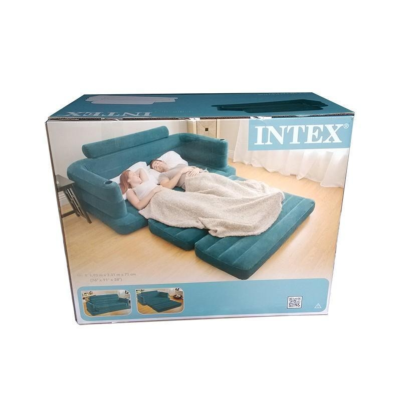 Inflatable Sofa Bed Couch Intex Furniture Air Lounge Pull Out Regarding Intex Air Sofa Beds (View 8 of 20)