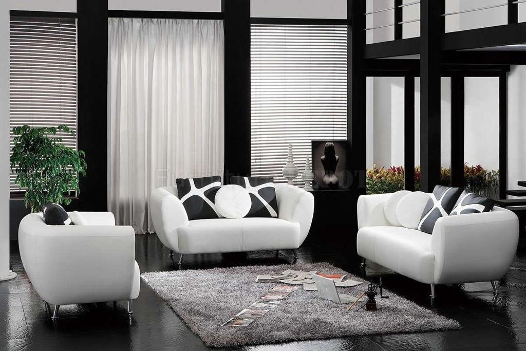 Interior : Captivating Modern Living Room In Black And White Color Regarding Black And White Sofas And Loveseats (Image 17 of 20)