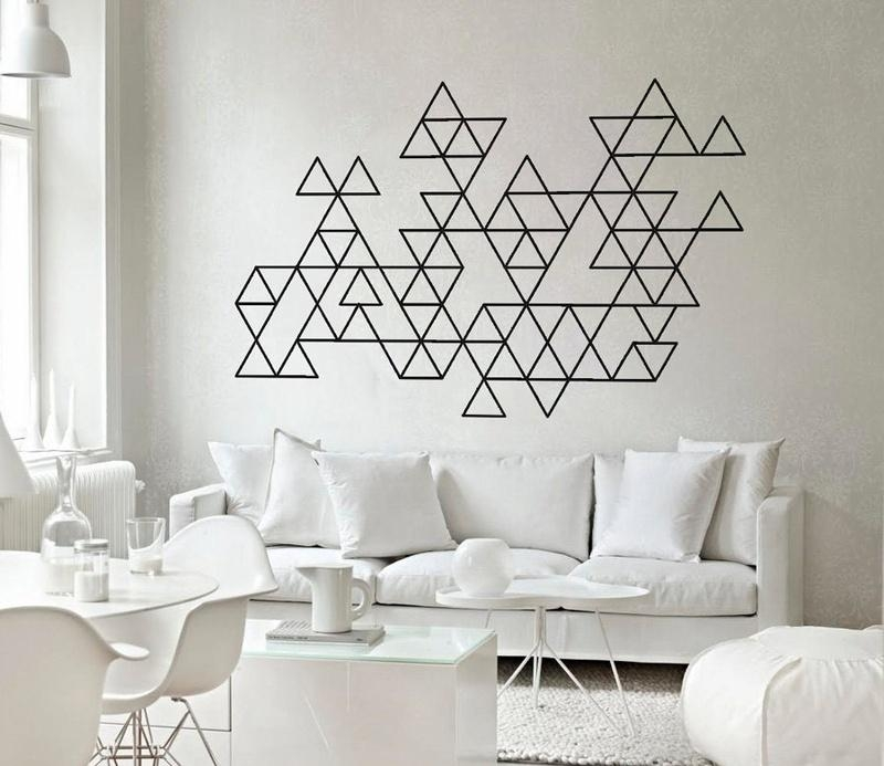 Interior Decoration Amusing Geometric Triangles Wall Art Decals With Regard To Modern Vinyl Wall Art (Image 15 of 20)