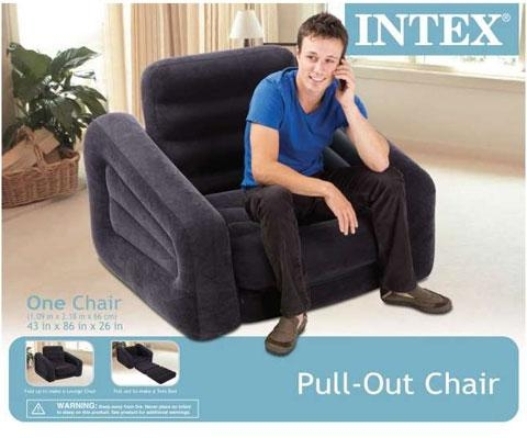 Intex 68565E Inflatable Pull Out Chair & Twin Bed Mattress Sleeper Inside Intex Pull Out Chairs (Image 5 of 20)