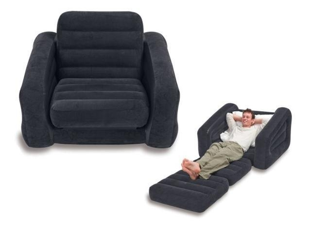 Intex 68565E Inflatable Pull Out Chair & Twin Bed Mattress Sleeper Throughout Intex Pull Out Chairs (View 3 of 20)