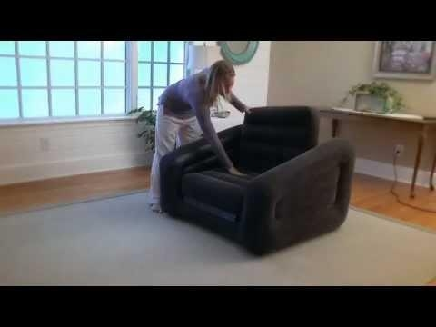Intex Inflatable One Person Chair Sofa Bed In Action Intended For Intex Air Sofa Beds (Image 10 of 20)