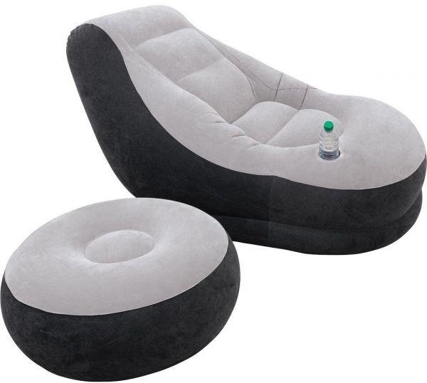 Intex Inflatable Sofa With Footrest, Black And Gray [68564], Price Throughout Intex Inflatable Sofas (View 6 of 20)