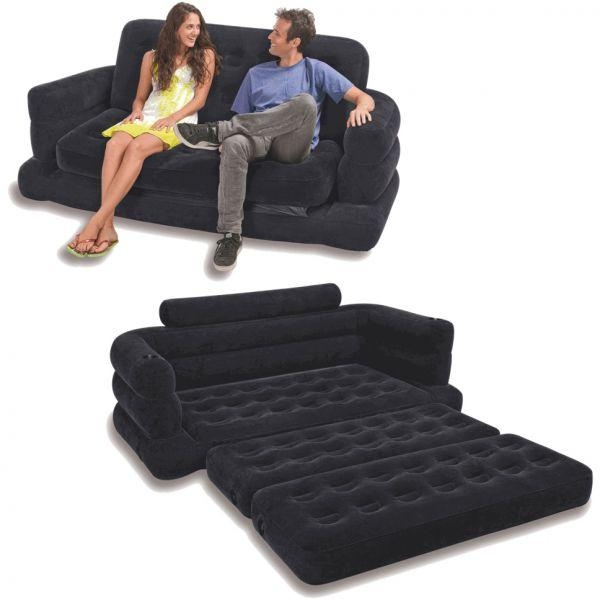 Intex Two Person Inflatable Pull Out Sofa Bed Black, Price Within Intex Inflatable Sofas (View 12 of 20)