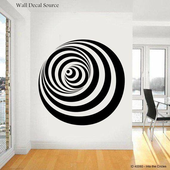 Into The Circle Wall Decal – Modern Art Vinyl Illusion Sticker Within Illusion Wall Art (Image 11 of 20)