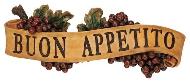 Italian Buon Appetito Kitchen Grapes Sculptural Wall Plaque Decor Inside Cucina Wall Art Decors (Image 11 of 20)