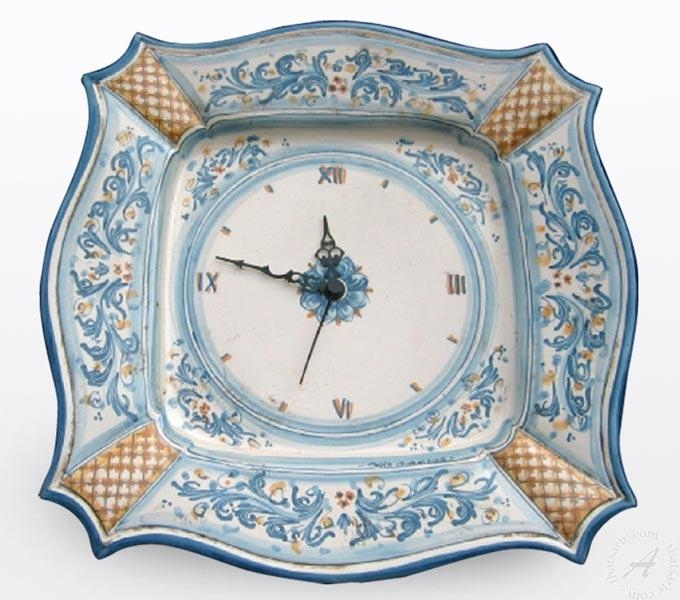 Italian Ceramic Wall Clock Handmade In Sicily | Thatsarte Regarding Italian Ceramic Wall Clock Decors (Photo 17 of 22)