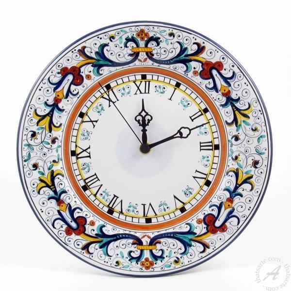 Italian Ceramic Wall Clock Handmadefima Deruta | Thatsarte Intended For Italian Ceramic Wall Clock Decors (Image 11 of 22)