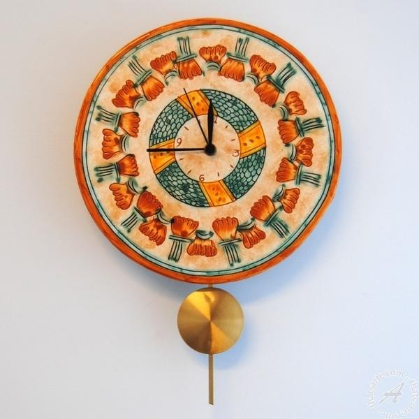 Italian Ceramics Round Wall Clock With Pendulum | Mantova Italian For Italian Ceramic Wall Clock Decors (Image 12 of 22)