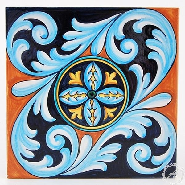 Italian Ceramics Tile 10 | Deruta Italian Potteryfrancesca Pertaining To Italian Ceramic Wall Art (Image 13 of 20)
