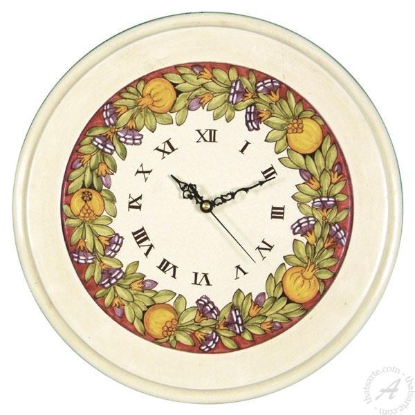 Italian Ceramics Wall Clock Pomegranate | Deruta Italian Pottery Pertaining To Italian Ceramic Wall Clock Decors (Image 14 of 22)