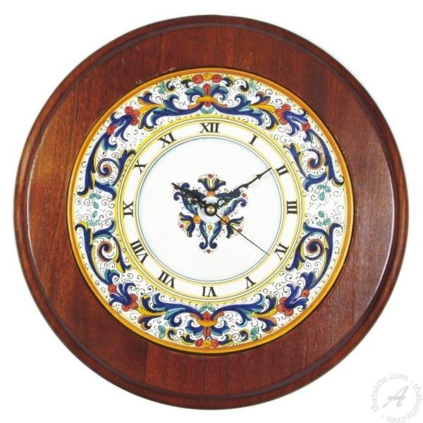 Italian Ceramics Wall Clock Ricco Deruta | Deruta Italian Pottery Inside Italian Ceramic Wall Clock Decors (Image 15 of 22)