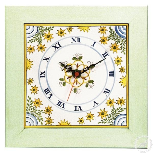 Italian Ceramics Wall Clock Sun | Deruta Italian Potteryl Throughout Italian Ceramic Wall Clock Decors (Image 16 of 22)