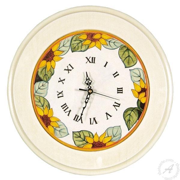Italian Ceramics Wall Clock Sunflower | Deruta Italian Pottery Inside Italian Ceramic Wall Clock Decors (Image 17 of 22)