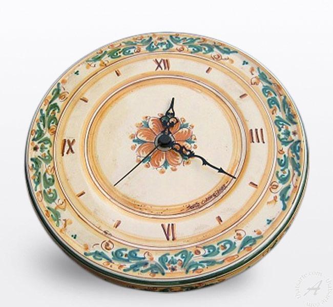 Italian Pottery Wall Clock Handmade In Sicily | Thatsarte Within Italian Ceramic Wall Clock Decors (Image 18 of 22)