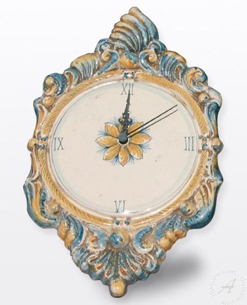 Italian Wall Clock Italian Pottery From Caltagirone Sicily Pertaining To Italian Ceramic Wall Clock Decors (View 19 of 22)