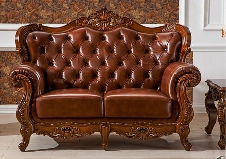 Italy Leather With Hand Carving Solid Wood 3 Piece Sofa Set With Carved Wood Sofas (Image 8 of 20)