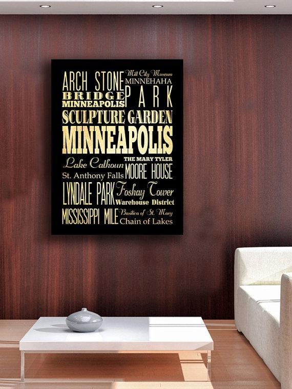 Items Similar To Minneapolis, Minnesota, Big Typography Art Canvas Throughout Minneapolis Wall Art (Image 9 of 20)