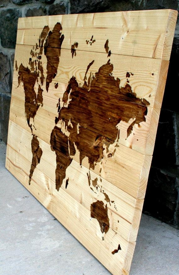 "Items Similar To Rustic Wood World Map Wall Art 21"" X 31"" On Etsy With Regard To World Map Wood Wall Art (Image 16 of 20)"