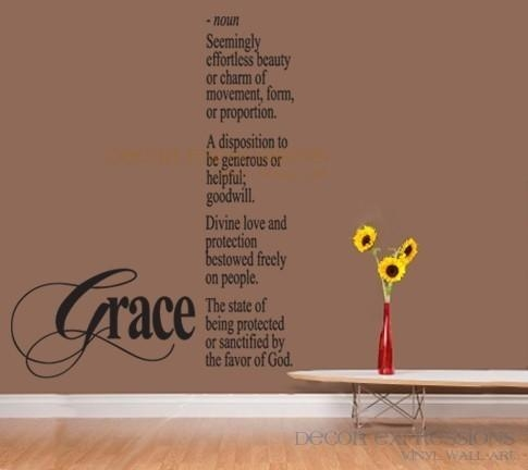 Items Similar To Wall Decal Definition Grace Large Wall Art On Etsy Pertaining To Grace Wall Art (View 2 of 20)