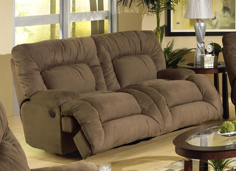 Jackpot Power Reclining Chaise Sofa In Coffee Microfiber Fabric Inside Catnapper Recliner Sofas (Image 10 of 20)