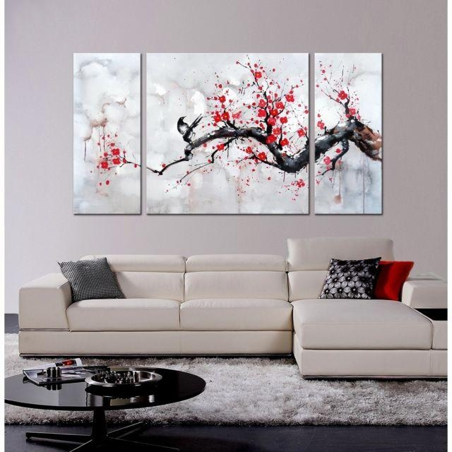 Japanese Inspired Wall Art Red Plum Blossom Hand Painted Canvas 3 Pertaining To Plum Wall Art (Photo 14 of 20)
