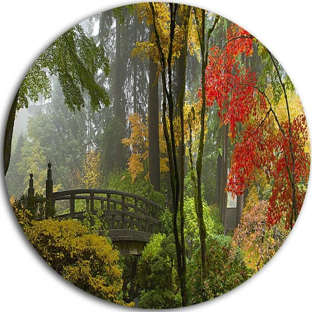 Japanese Wooden Bridge In Fall, Photo Disc Metal Wall Art – Asian For Asian Metal Wall Art (Image 9 of 20)