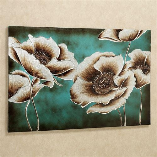 Jardin De Pavot Poppy Flower Canvas Wall Art Throughout Teal Flower Canvas Wall Art (Image 13 of 20)