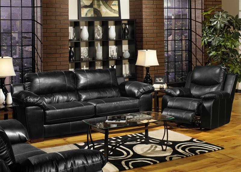 Jetson 2 Piece Sofa, Loveseat Set In Black Leatherjackson Throughout Black Leather Sofas And Loveseat Sets (Image 9 of 20)