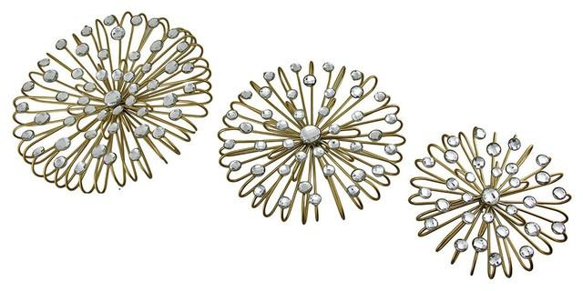 Jeweled Gold Finish Metal Star Burst Wall Hangings, 3 Piece Set In Jeweled Metal Wall Art (Photo 10 of 20)