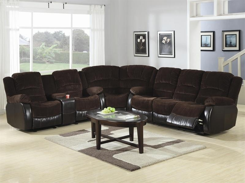 Johanna Chocolate Corduroy 3 Piece Reclining Sectionalcoaster Within Coaster Sectional Sofas (Image 9 of 20)