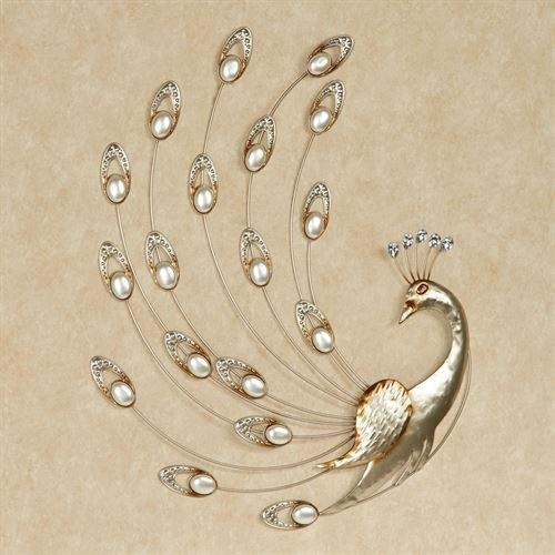 Julietta Pearl Peacock Metal Wall Art Intended For Peacock Metal Wall Art (Image 13 of 20)